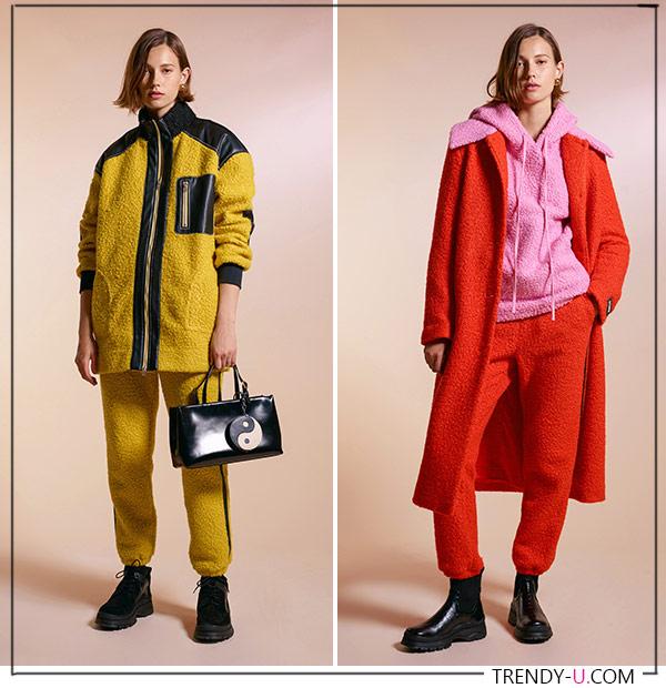 Спортивные костюмы желтого и оранжевого цветов Staud FW 2021