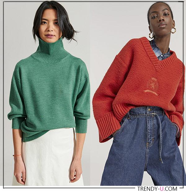 Трикотаж: водолазка и пуловер Rachel Comey и Hilfiger