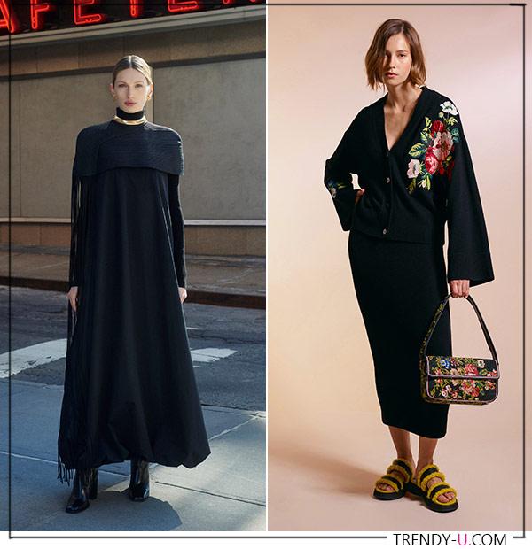 Черные платья оверсайз в коллекциях Tory Burch и Staud АЦ 2021-2022