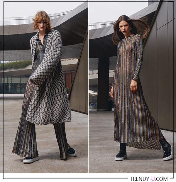 Трикотажное платье. кардиган и брюки из осенне-зимной коллекции Missoni FW 2021