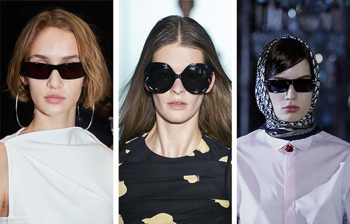 Очки с черными стеклами от Courreges, Del Core and Christian Dior осень-зима 2022