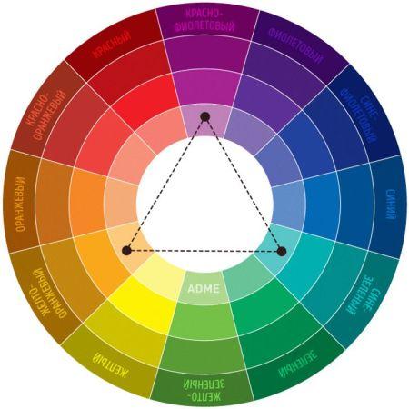 Поверните треугольки и вычислите с какими цветами сочетается зеленый
