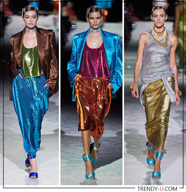 Одежда из ткани с металлическим напылением из весенне-летней коллекции Tom Ford