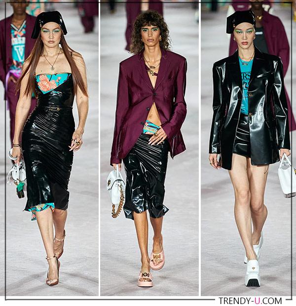 Сарафан, юбка и костюм из ткани с блеском под кожу от Versace