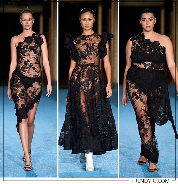 Прозрачные кружевные платья из коллекции Christian Siriano 2022
