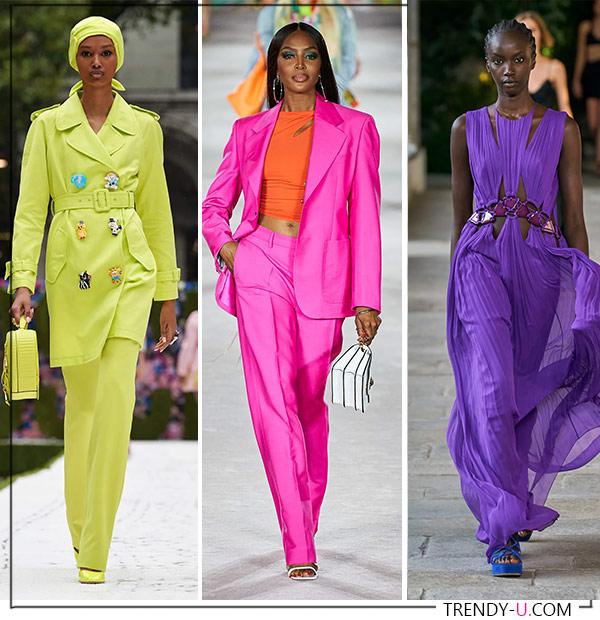 Яркие цвета для лета 2022. Коллекции Moschino, Versace и Alberta Ferretti