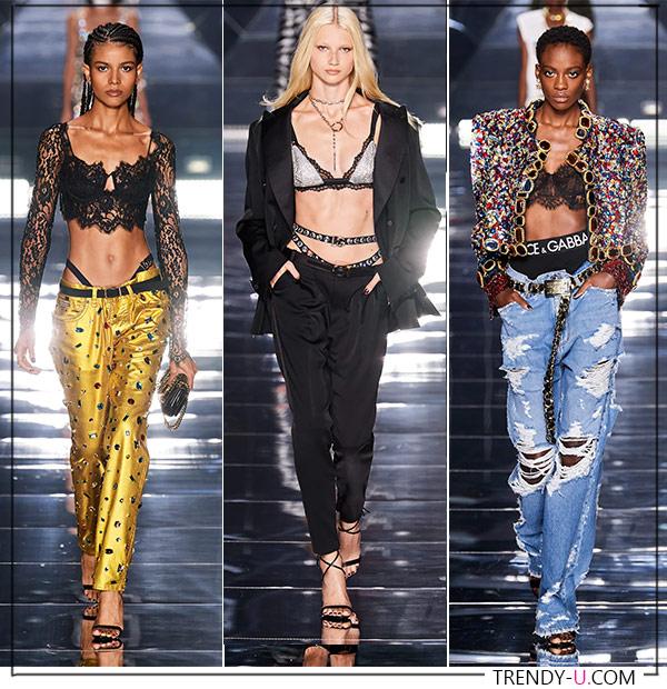 Низкая посадка на брюках. Модные образы из коллекции Dolce & Gabbana 2022