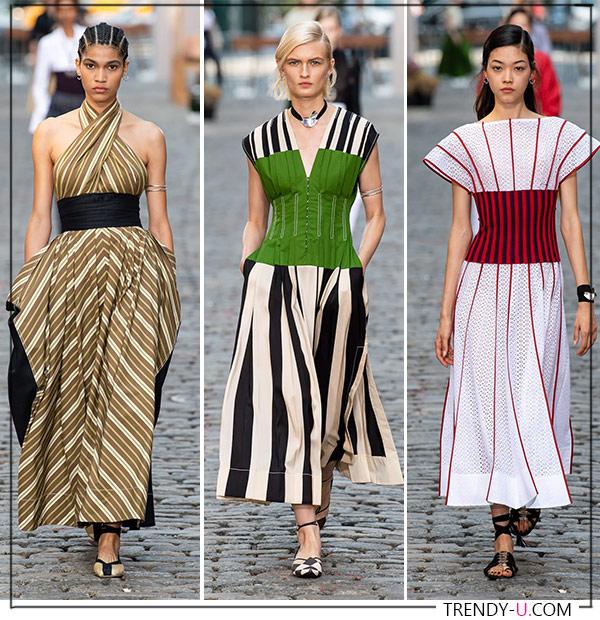 Летние платья в полоску весна-лето 2022 от Tory Burch