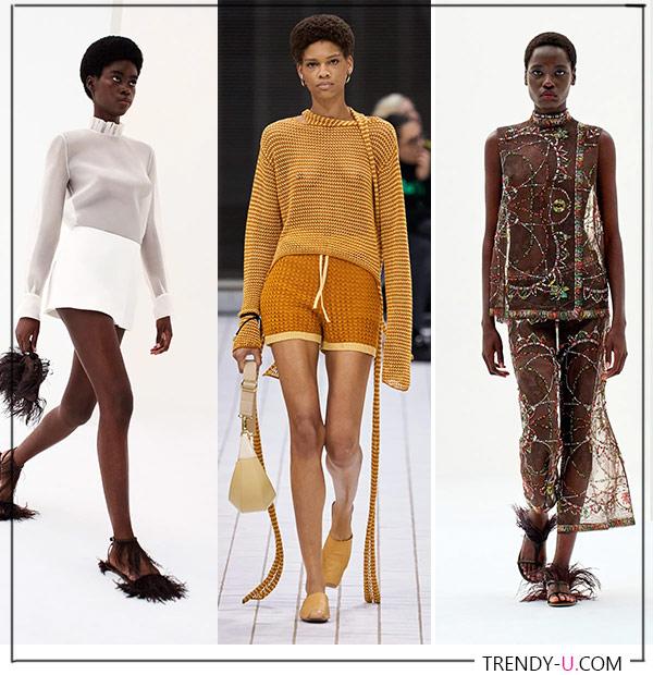 Прозрачная одежда от Emilio Pucci и Rejina Pyo (посередине)