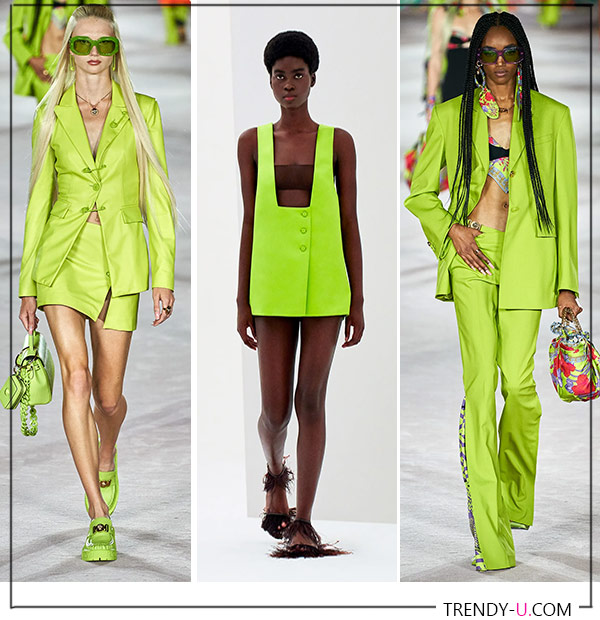 Яркие цвета летней модной одежды для весны и лета 2022 от Versace и Emilio Pucci (посередине)