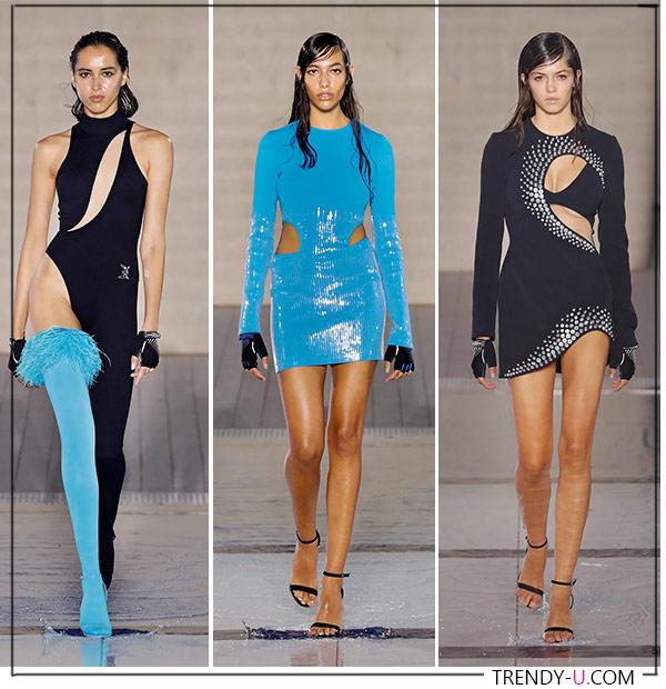 Вырезы на женской одежде в коллекции David Koma 2022